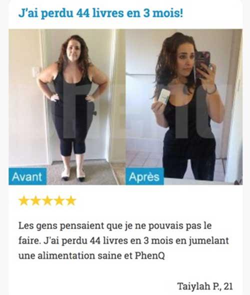 PhenQ avant et après